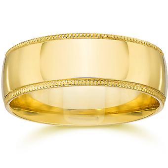 milgrain Mens casamento banda 14K ouro amarelo