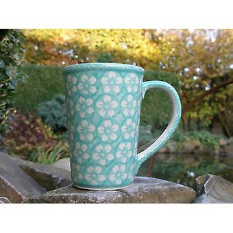 Cup approx. 250 ml - 8 cm, height 11 cm, Bolesławiec mint, BSN J-939