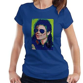 Michael Jackson Sunglasses Neon Pixelated Effect Women's T-Shirt