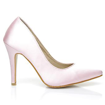 DARCY Baby Pink Satin Stiletto High Heel Pointed Bridal Court Shoes