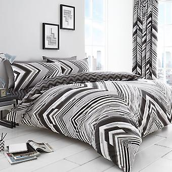 Astin Stripes 4 Pcs Duvet Cover with fitted sheet Polycotton ZigZag Bedding Set