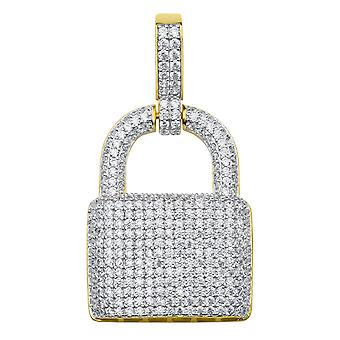 925 sterling silver micro pave lock pendant - gold