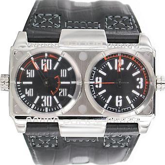 Polícia de pulso couro 12899XS pl. analógico/02 Black watch