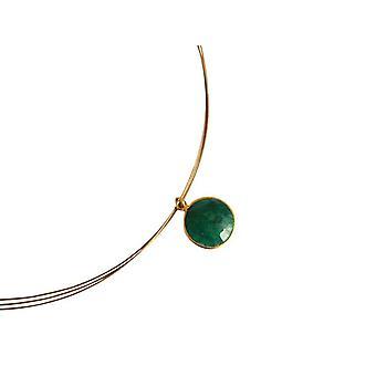 Gemshine - damas - collar - plata 925 - oro plateado - caramelo - verde - Esmeraldo - 45 cm