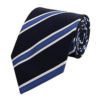 Schlips Krawatte Krawatten Binder Breit 8cm Schwarz/Blau gestreift Fabio Farini