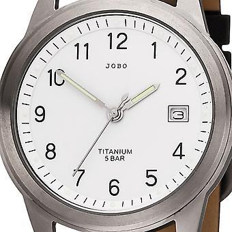 JOBO armbåndsur kvarts analog titanium læder rem sort Herre Herreur med dato