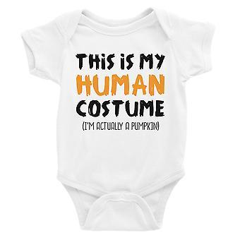 Human Costume Pumpkin Baby Bodysuit Gift White