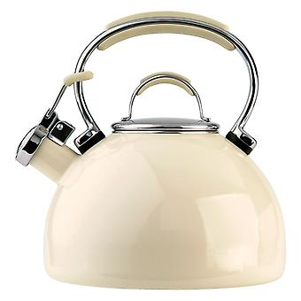 Prestige 50559 Almond Contemporary Enamel Stove Top 2L Whistling Kettle