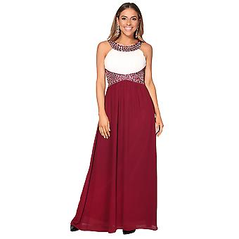 KRISP  Women Ladies Crystal Chiffon Cocktail Evening Wedding Party Maxi Dress Gown 8-18
