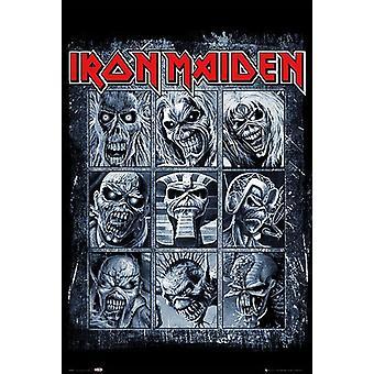 Iron Maiden Poster Eddie's evolution 9 Eddie cover designs.