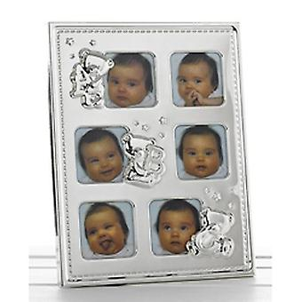 Teddy - Baby 6 foto Collage Metal Photo Frame - argento