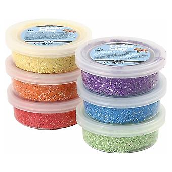 6 Bright Metallic Colour Foam Clay Tub Set for Kids & Adults Modelling Crafts
