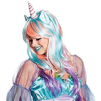 Magic Unicorn Unicorn long hair wig pastel with Horn and ears