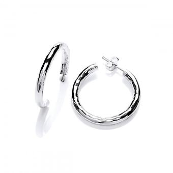 Cavendish French Sterling Silver Small Hammered Hoop Earrings