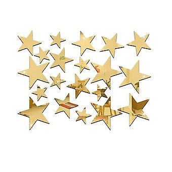 TRIXES 23PC Mirrored Gold Star Stickers Set  Decoration for Home