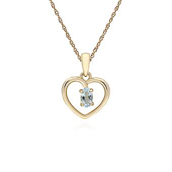 Gemondo 9ct Yellow Gold Blue Topaz Oval Single Stone Heart Pendant on 45cm Chain