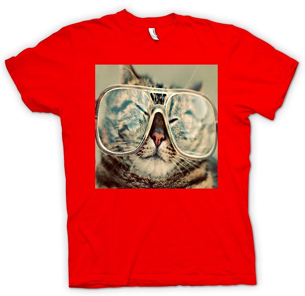 Mens T-Shirts-lustige Katze mit Brille