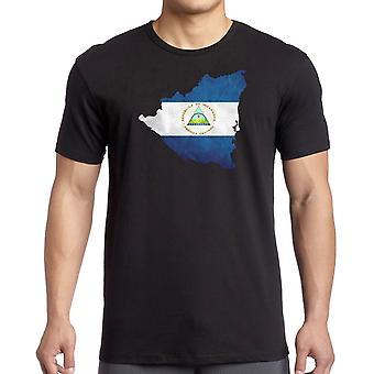 Nicaragua Flag Map   - 100% Cotton Short Sleeve Mens T Shirt