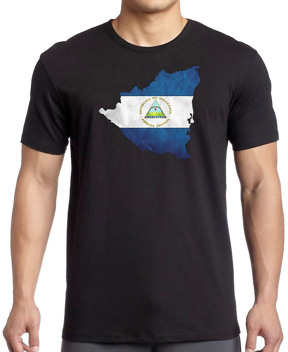 Nicaraguas flagga karta barn T Shirt