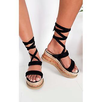 IKRUSH mujer Zara gamuza encaje Flatform de la sandalia