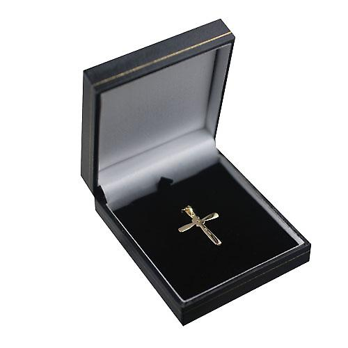 9ct Gold 30x22mm plain fancy Cross set with a 10pt diamond