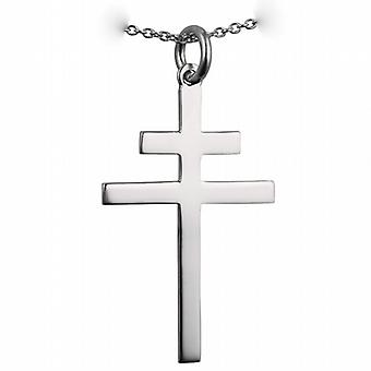 Silver 32x21mm plain Cross of Lorraine with a rolo Chain 22 inches