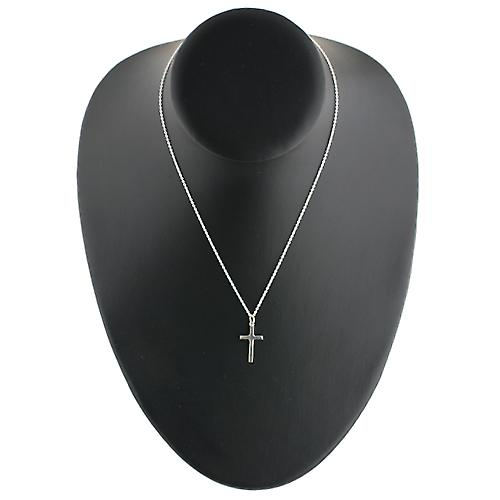 Silver 20x12mm plain solid block Cross with a rolo Chain 16 inches Only Suitable for Children