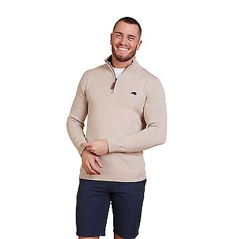 Knitted Cotton Cashmere 1/4 Zip - Oatmeal