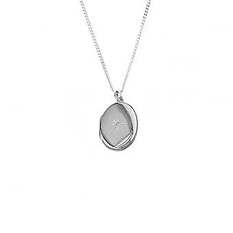 Eternity Sterling Silver Large Oval Cubic Zirconia Set Locket And 16'' Chain