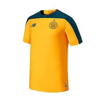 New Balance Celtic FC 2019/20 Kids Short Sleeve Away Football Shirt Yellow/Green