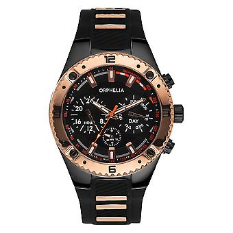 ORPHELIA Mens Multi Dial Watch Boulder Country Black/Rose Gold Silicone 86503