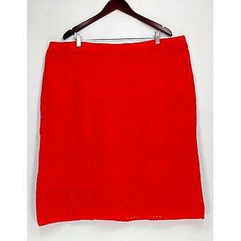 Liz Claiborne New York Plus Skirt Pull-On Pointelle Orange A253737