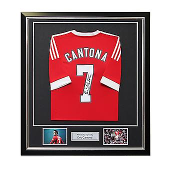 Eric Cantona Back Signed Manchester United Home Shirt In Deluxe Black Frame With Silver Inlay