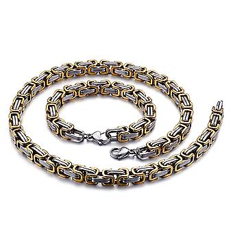 5mm royal chain bracelet men's necklace men's chain necklace, 22 cm silver / gold stainless steel chains