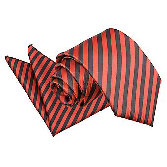 Men's Thin Stripe Black & Red Tie 2 pc. Set