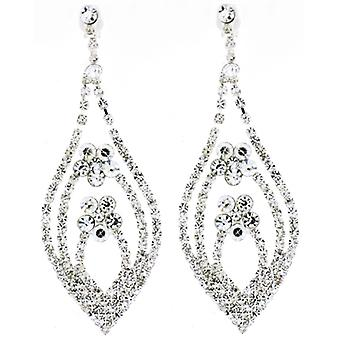 Clip On Earrings Store Long Tear Drop & Flower Diamante Crystal Clip On Earrings