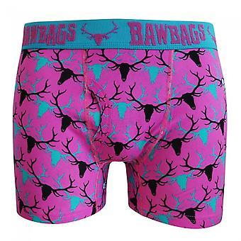 Bawbags Stag Boxer Shorts - Pink -Medium