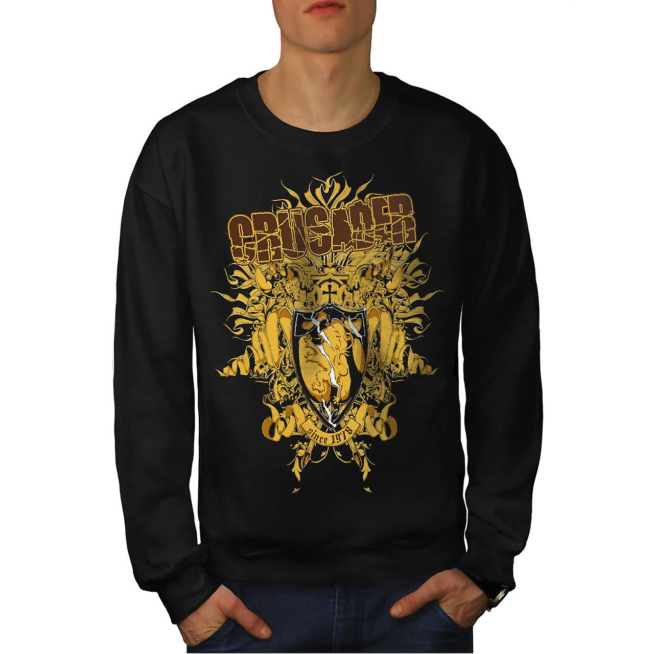 Crusader Knight Hero Warriors Men Black Sweatshirt | Wellcoda