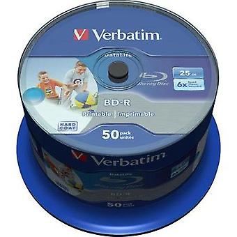 Blank Blu-ray BD-R SL 25 GB Verbatim 43812 50 pc(s) Spindle Printable