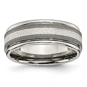 Titanium Sterling Inlay Sat/Polish 8mm Band - Size 13.5