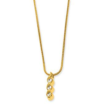 Gold-Flashed Gift Boxed Lobster Claw Closure Three Stone Cubic Zirconia Swirl Necklace - 18 Inch