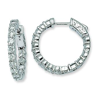 Sterling Silver Polished Safety clasp Rhodium-plated Rhodium Plated With Cubic Zirconia Hinged Hoop Earrings