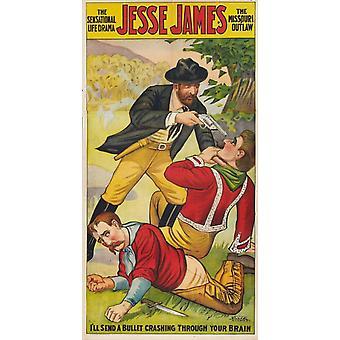 Jesse James som Outlaw filmaffischen (11 x 17)