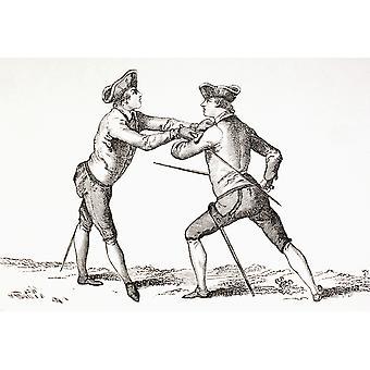Fekter om å avvæpne hans motstander og i posisjon og klar å drive fra Xviii Siecle institusjoner bruksområder Et kostymer publisert Paris 1875 PosterPrint