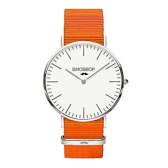 Snobbop York Silber watch nylon NATO strap Orange