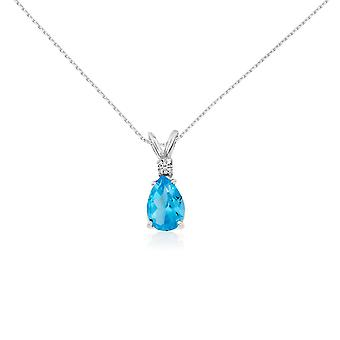 14k White Gold 7X5 Blue Topaz Pear and Diamond Pendant with 18