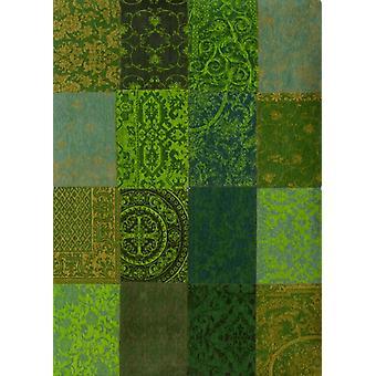 Green Patchwork Rug Vintage - Louis De Poortere