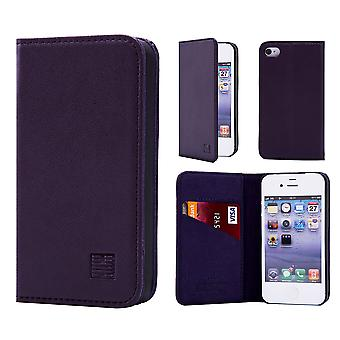 32nd Classic Real Leather Wallet for Apple iPhone 5 5S SE - Aubergine