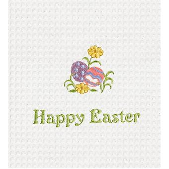 Happy Easter Decorated Eggs Waffle Weave White Kitchen Dish Towel