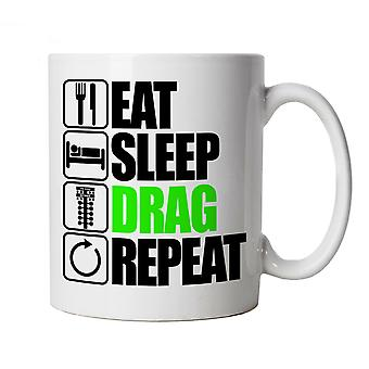 Eat Sleep Drag Repeat, Novelty Drag Racing Mug